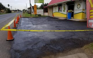 New Paving Roped Off with Caution Tape