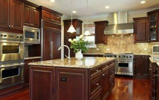 Dark Brown Wood Cabinet Kitchen
