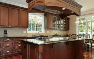 Dark Brown Kitchen with Large Range